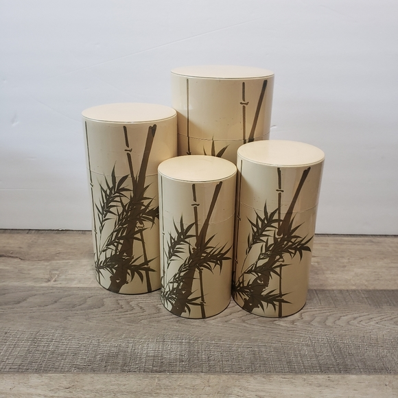 Vintage Nesting Canisters Bamboo Hand Painted